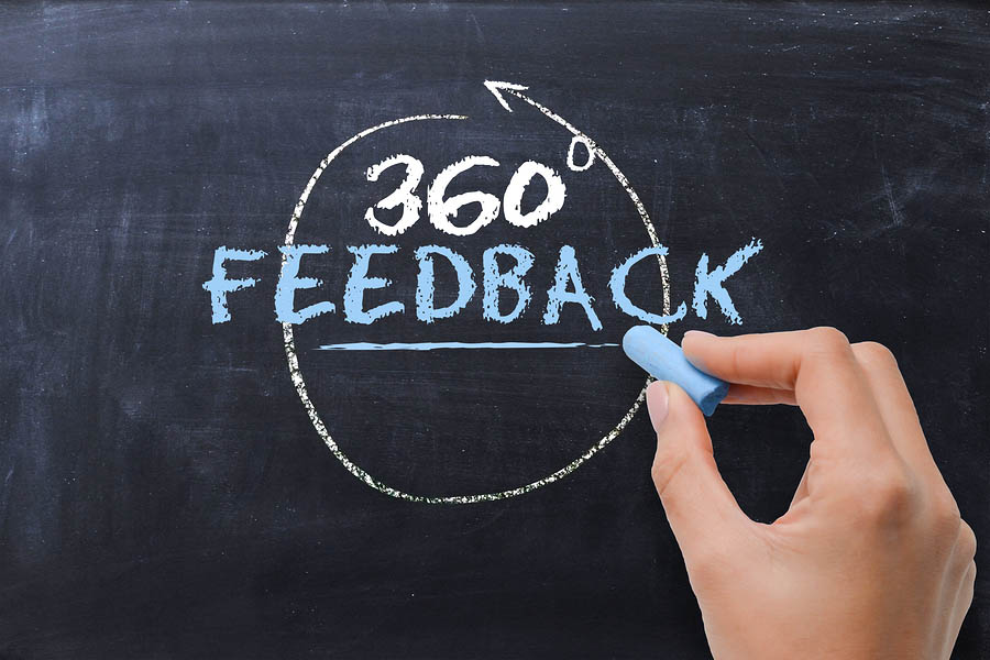 Concept of 360 degrees feedback handwritten on chalkboard by businesswoman hand