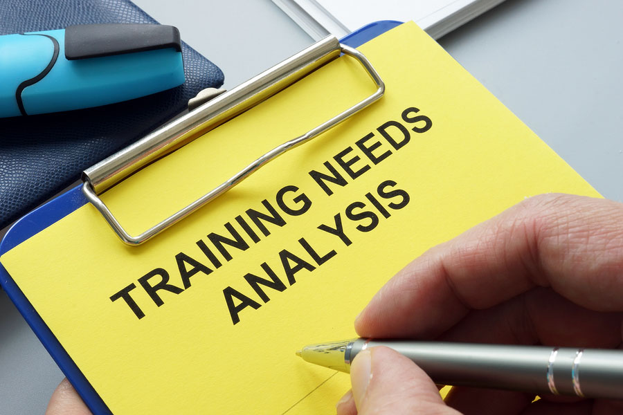 Man Filling In Training Needs Analysis Documents.
